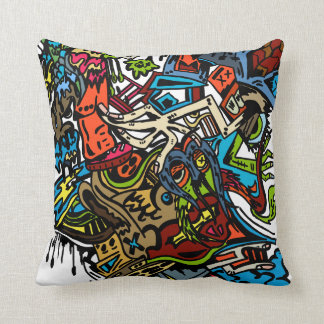 Cartoon Doodle-Imagination Throw Throw Pillow