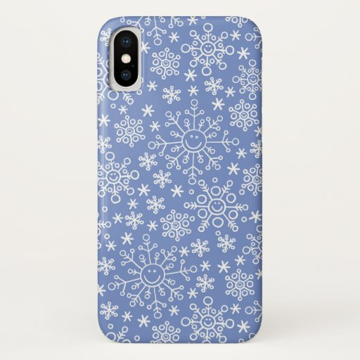 Cartoon Doodle Winter Snowflakes iPhone X Case