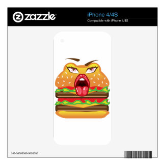 Cartoon Double Cheeseburger vector Skin For iPhone 4