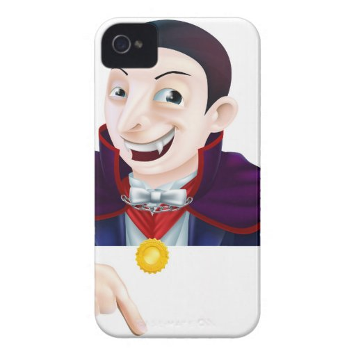 Cartoon Dracula Pointing Down iPhone 4 Case