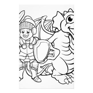Cartoon Dragon and Knight Stationery