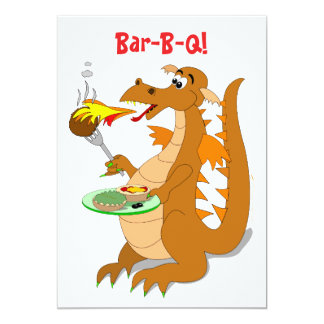 Cartoon Dragon Bar-B-Q Party Invitations Template