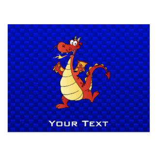 Cartoon Dragon; Blue Postcard