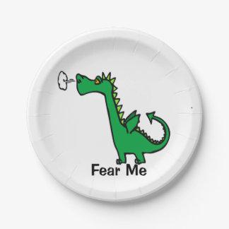 Cartoon Dragon Fear Me Paper Plate