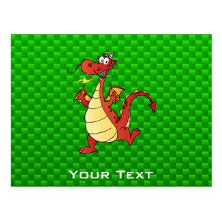 Cartoon Dragon; Green Postcard