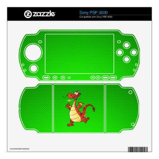 Cartoon Dragon; Green Skin For PSP 3000