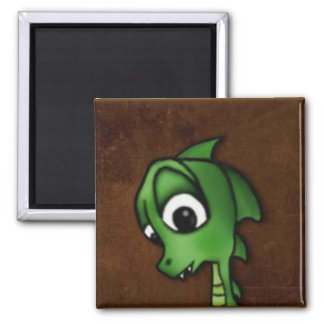 Cartoon Dragon 2 Inch Square Magnet