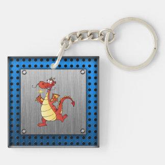 Cartoon Dragon; Metal-look Keychain