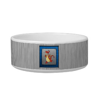 Cartoon Dragon; Metal-look Pet Water Bowl