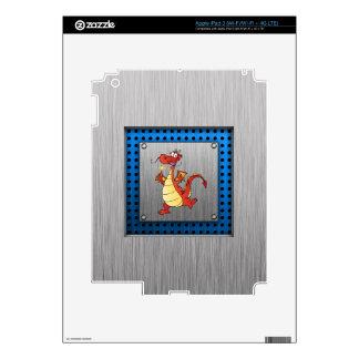 Cartoon Dragon; Metal-look Skin For iPad 3