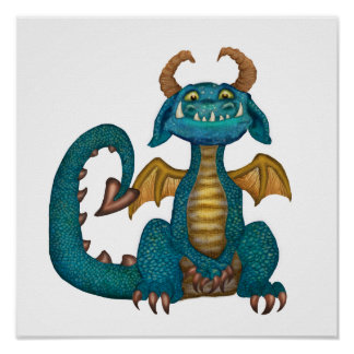 Cartoon Dragon Poster (unsigned - no background)