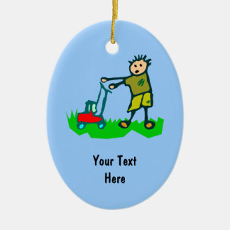 Cartoon Drawing Man Mowing Grass Ceramic Ornament