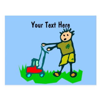 Cartoon Drawing Man Mowing Grass Postcard