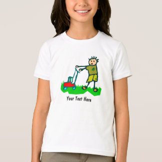 Cartoon Drawing Man Mowing Grass T-Shirt