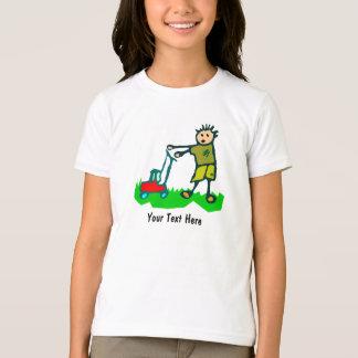 Cartoon Drawing Man Mowing Grass T-Shirt