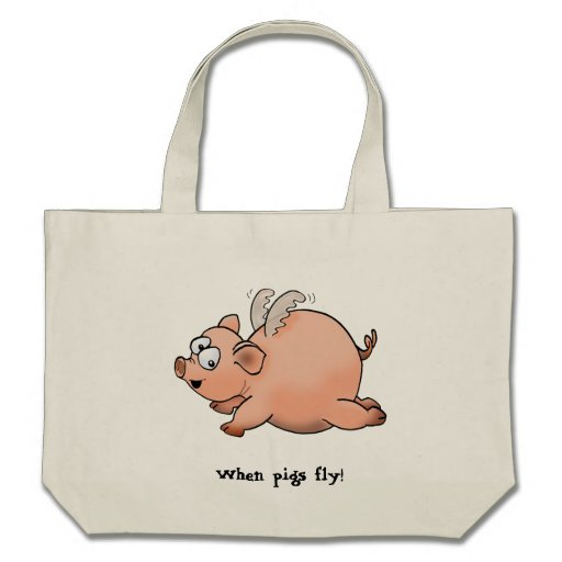 Cartoon drawing of a pig with wings flying bag