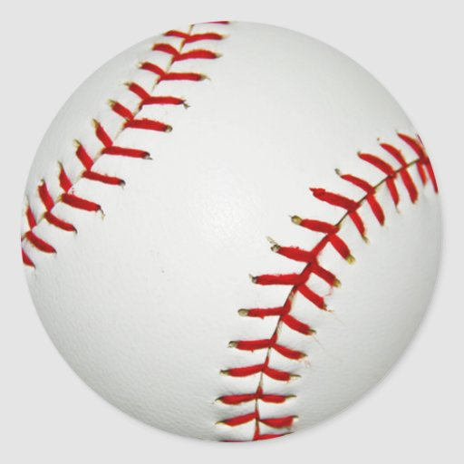 Cartoon Drawn American Baseball Round Stickers
