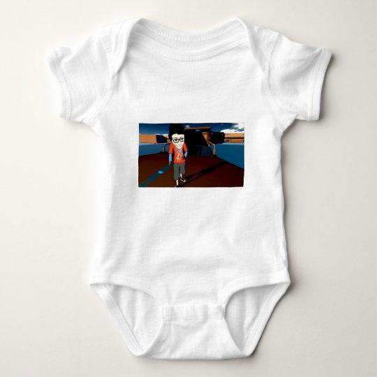 cartoon draxtor space ship baby bodysuit