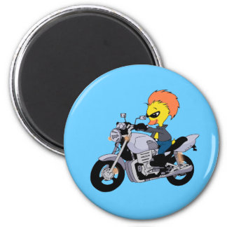 Cartoon duck on a cool motorcycle magnet