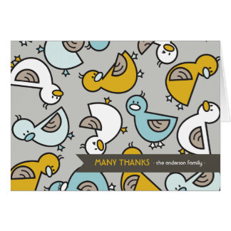 Cartoon Ducks Baby Birth Announcement Thank You Stationery Note Card