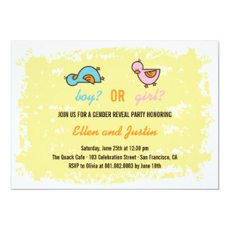 Cartoon Ducks Baby Boy Girl Gender Reveal Party Card