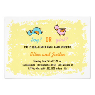 Cartoon Ducks Baby Boy Girl Gender Reveal Party Personalized Invitations