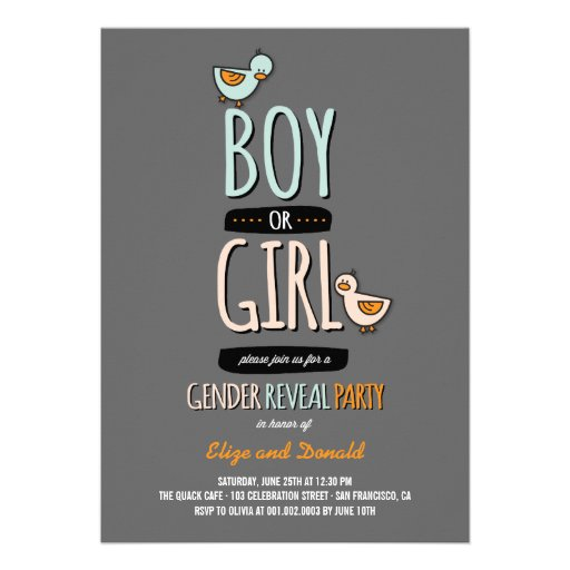 Cartoon Ducks Baby Boy Girl Gender Reveal Party Custom Announcement