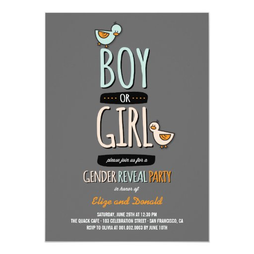 Cartoon Ducks Baby Boy Girl Gender Reveal Party 5x7 Paper Invitation Card