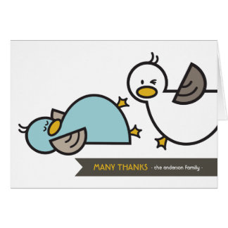Cartoon Ducks Twin Birth Announcement Thank You Stationery Note Card