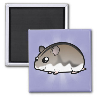 Cartoon Dwarf Hamster 2 Inch Square Magnet
