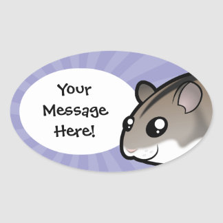 Cartoon Dwarf Hamster Oval Sticker