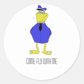Cartoon Eagle Airplane Pilot Stickers