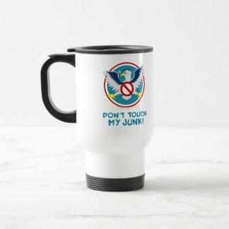 Cartoon Eagle Don't Touch My Junk Funny TSA Logo 15 Oz Stainless Steel Travel Mug