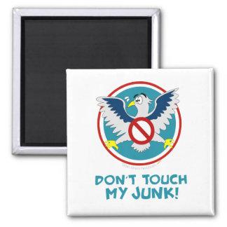 Cartoon Eagle Don't Touch My Junk Funny TSA Logo 2 Inch Square Magnet