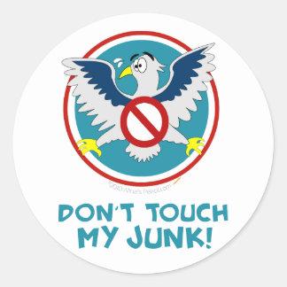 Cartoon Eagle Don't Touch My Junk Funny TSA Logo Classic Round Sticker