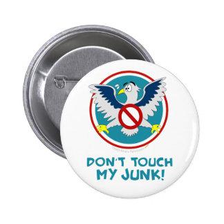 Cartoon Eagle Don't Touch My Junk Funny TSA Logo Pinback Button