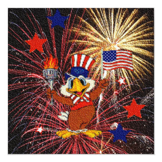 Cartoon Eagle with Flag and Fireworks Invitation