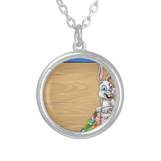 Cartoon Easter Bunny Background Sign Silver Plated Necklace