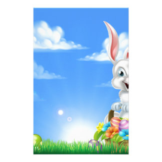 Cartoon Easter Bunny Background Stationery