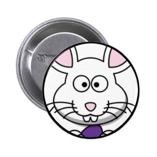 Cartoon Easter Bunny Face Button