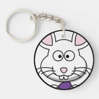 Cartoon Easter Bunny Face Keychain