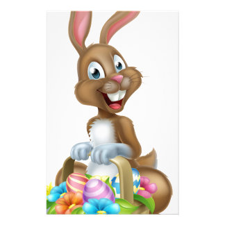 Cartoon Easter Bunny Rabbit with Eggs Basket Stationery
