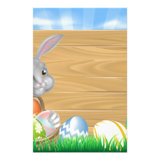 Cartoon Easter Bunny Sign Stationery