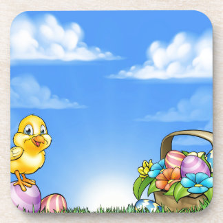 Cartoon Easter Eggs And Chick Background Beverage Coaster