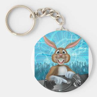 Cartoon Easter Party Bunny DJ Basic Round Button Keychain