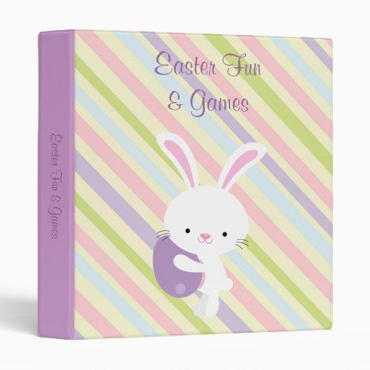Cartoon Easter Rabbit with Stripes Binder