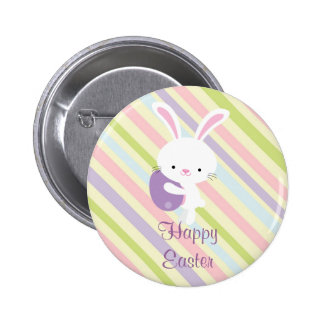 Cartoon Easter Rabbit with Stripes Button