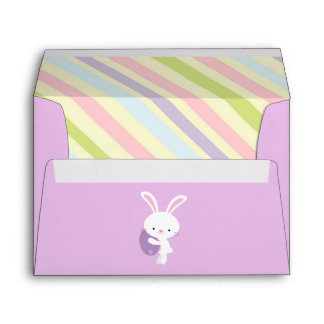 Cartoon Easter Rabbit with Stripes Envelopes