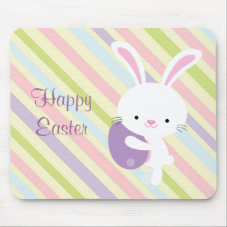 Cartoon Easter Rabbit with Stripes Mousepad
