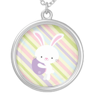 Cartoon Easter Rabbit with Stripes Necklace